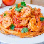 Espagueti con Camarones y Parmesano
